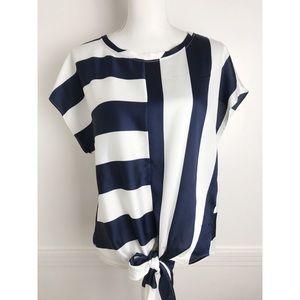 Banana Republic • Navy and White Stripe Tie Blouse